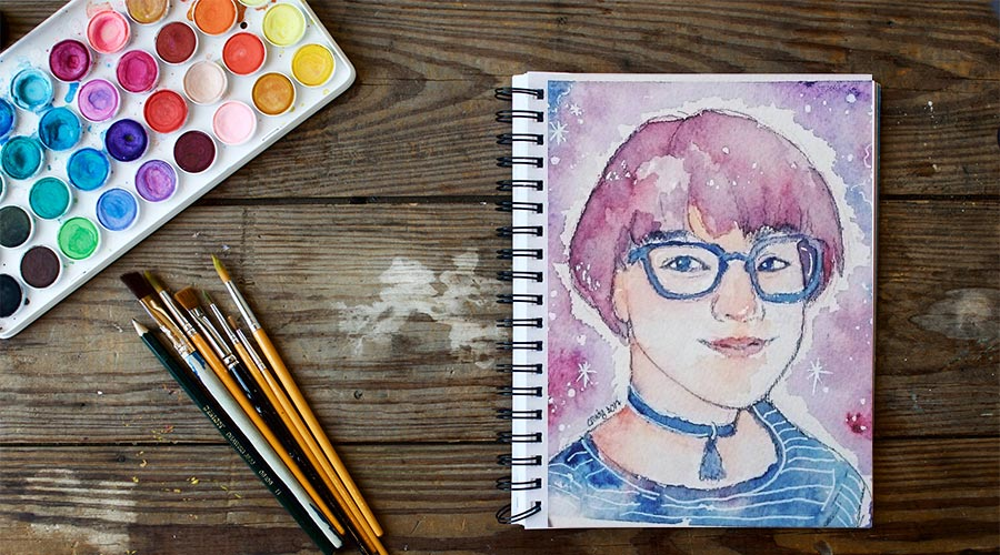 watercolour-expressive-self-portrait