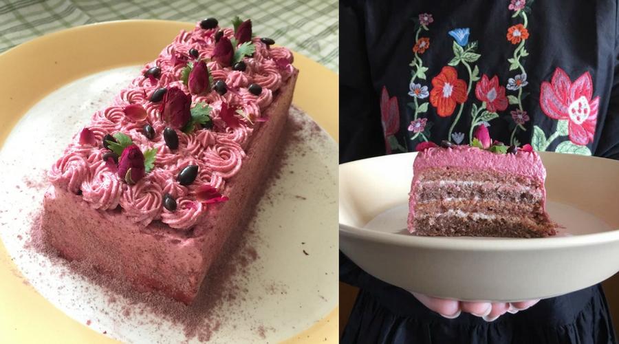 Taro Raspberry Layer Cake
